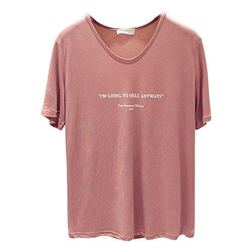 Xmy Lettre lâche ressort stamp blanc T-shirt femme été manches courtes T-shirt avec la vidéo vêtements légers sont de type code