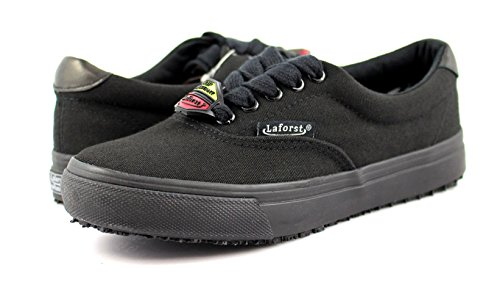 Laforst Womens Non Slip Sunbrella Slip Resistant Server Waitress Nurse Lace up Flat Black 8 by Laforst