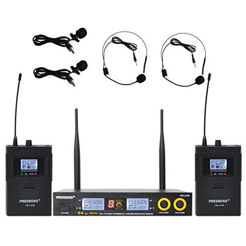 Freeboss FB-U09 Digital Uhf Wireless Microphone System Dj Karaoke 2 Lapel and 2 Headset Microphone (2 Bodypack Transmitter)