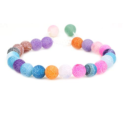 Natural Multicolor Weathered Agate Gemstone 8mm Round Beads Adjustable Braided Macrame Tassels Chakra Reiki Bracelets 7-9 inch Unisex ()