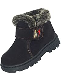 DADAWEN Boy's Girl's Leather Waterproof Winter Boots (Toddler/Little Kid/Big Kid)