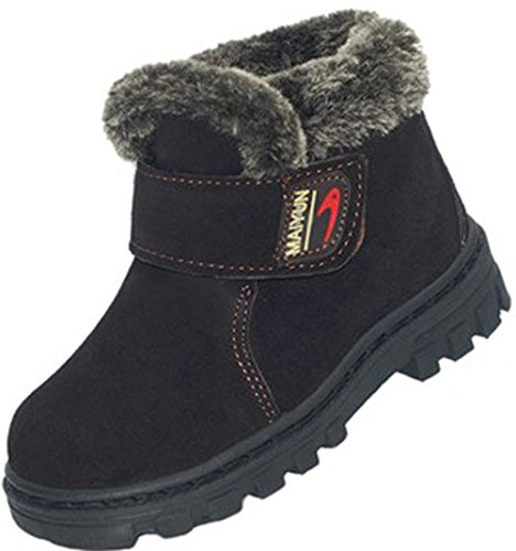 [DADAWEN Boy's Girl's Classic Waterproof Leather Winter Boots (Toddler/Little Kid/Big Kid) Coffee US Size 1.5 M Little] (Boots For Boys)