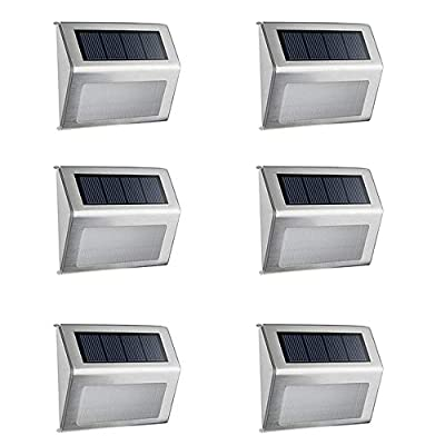 Lebote Solar Deck Lights Outdoor,Bright 6 LED Solar Step Lights Waterproof Stainless Steel,Solar Walkway Lights Outdoor Lighting for Stair Pathway Patio-White(6 Packs)