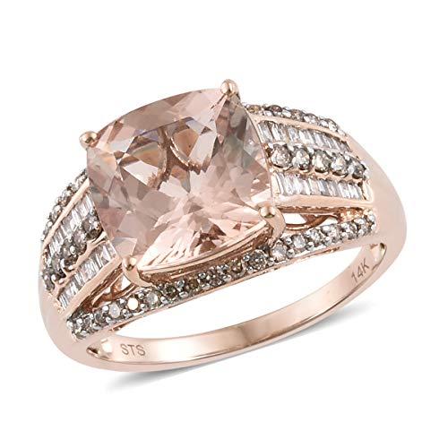 14K Rose Gold Cushion Morganite Champagne Diamond Bridal Anniversary Ring Size 7 Cttw 4.7 - Landmark Diamond Ring