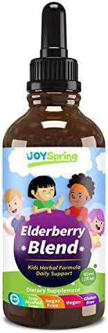 Organic Elderberry Syrup for Kids - Best Natural Kids Cold Medicine, Pure Elderberry Blend for Sickness Relief, 3X Stronger Vegan & Sugar-Free Formula to Strengthen Immune System & Avoid Getting Sick