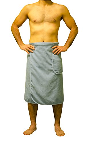 Mens Towel Wrap (Soft & Softly Men's Wrap, Shower & Bath, Terry Spa Towel, Made In Turkey - Blue)