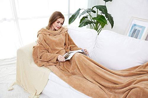 Winthome Long Fleece Blanket with Sleeves, Wearable Blanket Adult (Kaki)