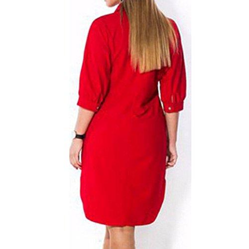 Hem Boyfriend Mini Red Women V Casual Shirt TM BetterGirl Neck Dress Low Button High zBg0zwq