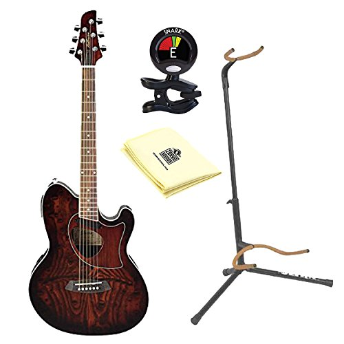 Ibanez Talman TCM50 Cutaway Acoustic-Electric Guitar in Vintage Brown Sunburst with Ultra 2445BK Basic Guitar Stand, Snark SN5X Clip-On Tuner for Guitar and Custom Designed Instrument Cloth