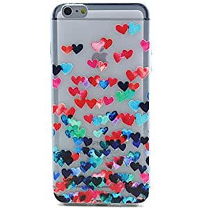 QHY Colorful Heart Pattern Ultrathin TPU Soft Back Cover Case for iPhone 6 Plus