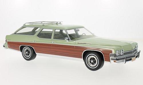 Buick Estate Wagon, metallic-hellgrün/wood optics, 1974, Model Car, Ready-made, BoS-Models 1:18 (1974 Models)