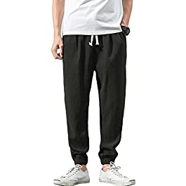 Men's Drawstring Beach Pant Summer Cotton Linen Loose Yoga Jogger Pants