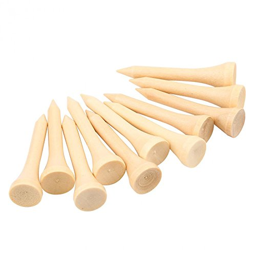 Wooden Golf Ball Tees - GFORTUN 100pcs Professional Wooden Golf Tees Ball Marker Aerodynamically Designed Low-Resistance Tip Eco-Friendly Wood Golf Tee (Wooden, 42mm/1.65 Inch)