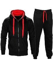 XPACCESSORIES Malaika Mens Lange Mouwen Contrast Zip Up Hooded Fleece Gym Sport Joggers Volledige Tracksuit Basketbal Top Tracky Bodem UK Maat S-5XL