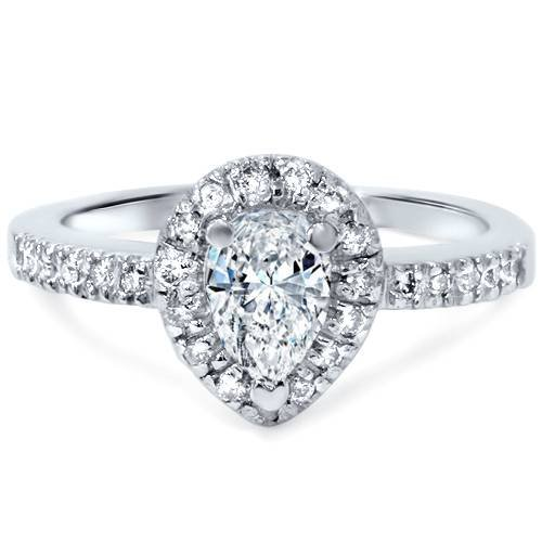 1/2ct Pear Shape Natural Diamond Engagement Ring 14K White Gold Solitaire ()