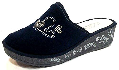 axa - Zapatillas de estar por casa de tela para mujer azul turquesa 38