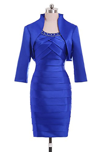 (Suzy Bridal Women Sheath Knee Length Satin Party Dress Mother Gowns with Jacket(Royal Blue US6))