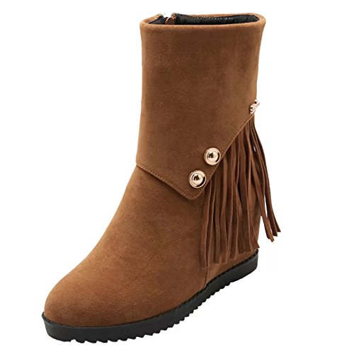 Winter Brown Tassels Autumn AIYOUMEI Bootie Increased Boots Ankle Women's Zipper Wedges with Internal 0w6q7w