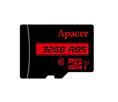 Micro SD Card Apacer 32GB UHS-I U1 Class 10 SDHC Memory Card with Adapter , R85 Mb/s by Apacer