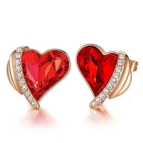 CDE Ohrringe für Damen Schmuck Geschenk, Sterling Silber Damen Ohrstecker, verschönert mit Kristallen Herz Ohrringe mit Geschenk-Box