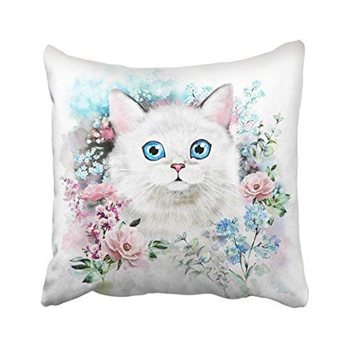 Blue Kitty Cat Watercolor Flower and Splash Paint Hipster Animal Green Face Sketch Throw Pillow Covers Decorative 18 x 18 ()