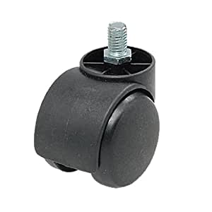 Uxcell Threaded Stem Connector Twin-wheel Chair Caster, Black