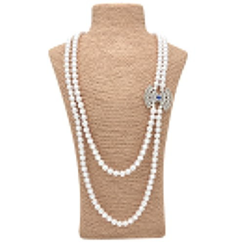 Fresh Off The Boat Costume (Romantic Time Shell Pearl Beads Strand Necklace Fan-shaped Long Chain Jewellery(Blue))