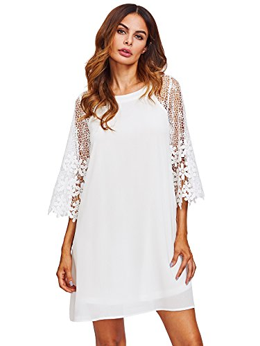 asual Crewneck Half Sleeve Summer Chiffon Tunic Dress White L ()