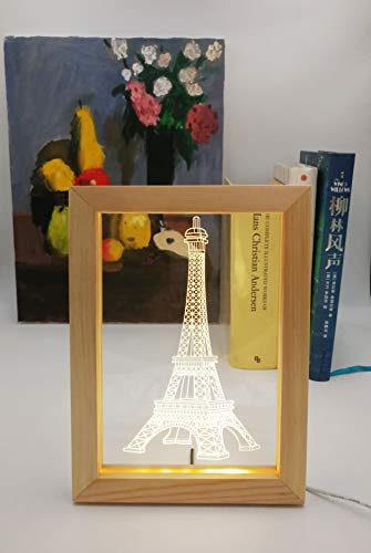 Kevmiya Eiffel Tower Lamp with LED Picture, 9X6.7 inches, Night Lamp and Decor for Sleeping Lighting, Gifts for Kids (Eiffel Tower)