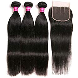 Brazilian Straight Hair With Closure 3 Bundles Unprocessed Virgin Human Hair Bundles With Lace Closure Free Part Hair Extensions Natural Color (141618+12Three part)