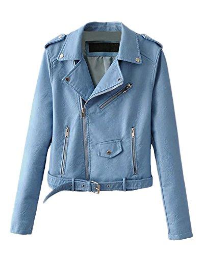 Zipper Jacket Leather Moto Belt PU Romacci Women's Outerwear Sleeves Coat Blue Jacket Basic Long qTX64qfwn