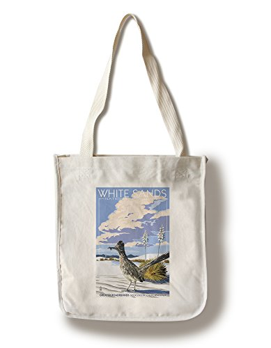 White Sands National Monument  New Mexico   Roadrunner  100  Cotton Tote Bag   Reusable  Gussets  Made In America