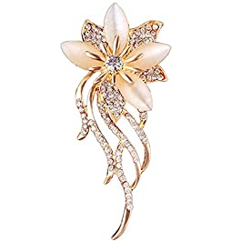 Reizteko Created Cats Eye Brooch for Women Classy Bouquet Bridal Brooch Pin (Champagne)