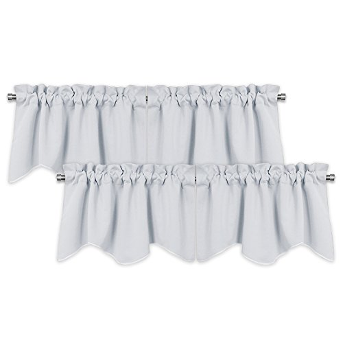 PONY DANCE White Valances Curtains - Scalloped Valances Short Rod Pocket Half Drapes Home Decor Curtain Tiers Home Decor Soft Fabric for Kitchen, 42