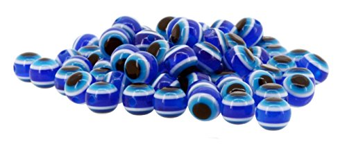 Mandala Crafts Wholesale Jewelry Making 150 8mm Resin Loose Evil Eye Beads (Blue)