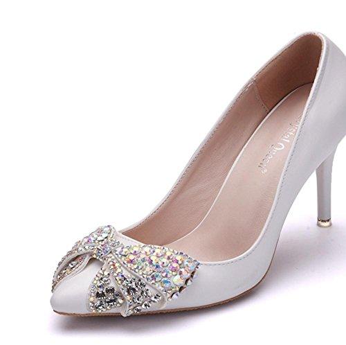 Zapatillas Zapatos Boda Blanco Corte Nupcial Tacón Del uk Cerrado De Señoras Eur Dedo Alto 5 Tamaño Primavera Nvxie 6 41 Mujer Noche Diamante 6 35 Pie White 39 Imitación Puntiagudo eur37uk455 ZEqwvPndx