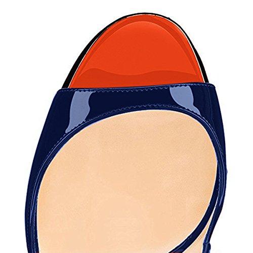 cheap perfect onlymaker Women's Peep Toe Slingback High Heel Pumps Stilettos Sandals Blue outlet for cheap QRWevqjz