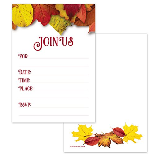 Fall Party Invitations - Autumn Leaves Design - Birthday, Baby Shower, Harvest Party Invites (20 Count with Envelopes)