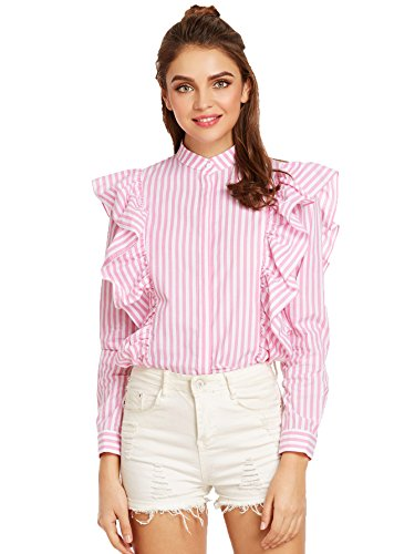 SheIn Women's Striped Ruffle Button Front Long Sleeve Blouse Large Pink - Pink Long Sleeve Button Front