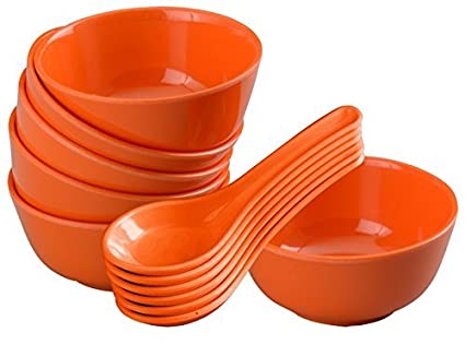 Servewell Round Soup Bowl with Spoon Set, Orange, 12-Pieces