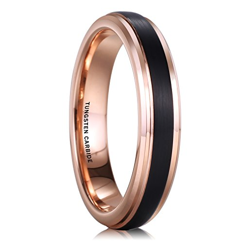 NaNa Chic Jewelry 4mm Tungsten Carbide Ring for Women Black Rose Gold Plated Wedding Band
