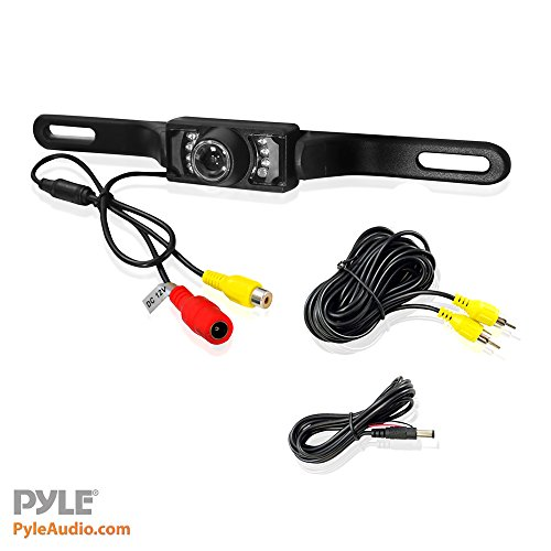 Pyle PLCM10 Rear View Backup Parking Reverse Camera, License Plate Mount, Weatherproof, Night Vision, Distance Scale Lines, Swivel Angle Adjustable Cam