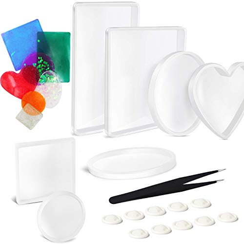 EuTengHao 18Pcs Silicone Resin Molds DIY Big Resin Casting Molds Kit Include 7 Styles Coaster Resin Molds Square Round Ellipse Rectangle Heart Shaped Molds Epoxy Resin Molds for Home Decoration