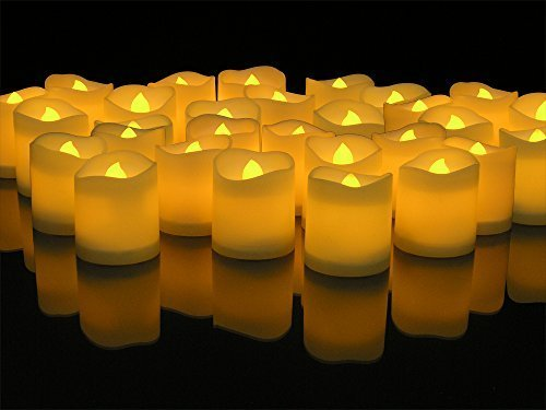 LED Lighted Flickering Votive Candles White Flameless Box of 48 by Banberry Designs (Design Techno Led)