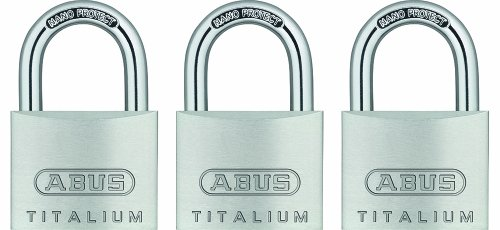 ABUS 64TI/40 3-PACK C KA Titalium Aluminum Alloy Keyed Alike Padlock set of 3, 1-1/2-Inch Padlock with 1/4-Inch Diameter Nano Protect Steel Shackle