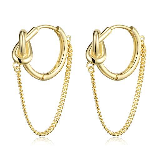 (HUIMEI Sterling Silver Twisted Chain Cartilage Hoop Earrings)