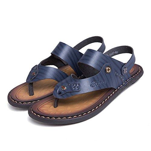 Doppia in a di di da Grandi Sandali Spiaggia Scarpe da Vacchetta da Funzione Sandali Pantofola Uomo Pattino Casual Cricket Dimensioni Blu Pelle vqqZw0Y