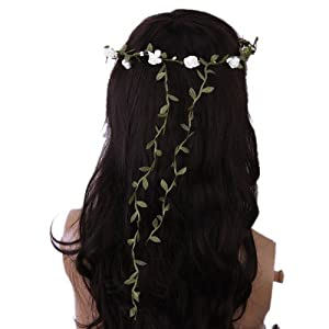 ReNext Rose Flowers Branch Festival Wedding Garland Head Wreath Crown Floral Halo Headpiece Photography Tool Adult Size (White and Green) 2