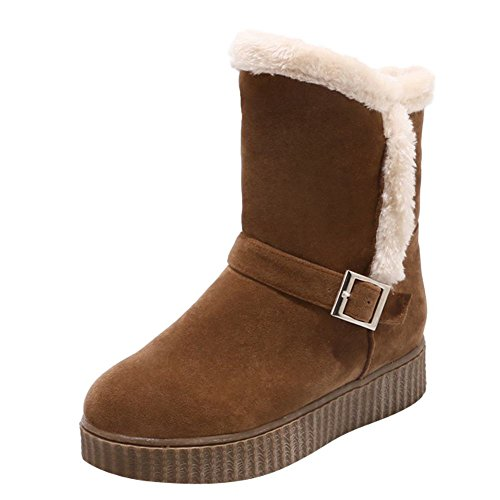 Charm Foot Womens Warm Velvet Lining Low Heel Winter Short Snow Boots Brown