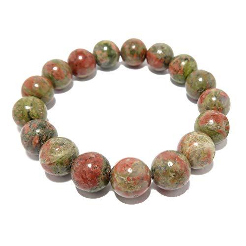 I Dig Crystals Unakite Bracelet 9mm Pink Green Creativity Stone Genuine Round Gemstone Handmade Stretch Jewelry B01